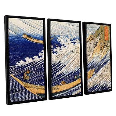ArtWall Ocean Waves by Katsushika Hokusai 3 Piece Framed Painting Print Set