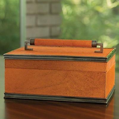 Global Views Wrapped Handle Leather Box; Orange/Bronze