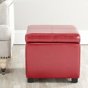 Corrigan Studio Clemens Leather Storage Ottoman; Red