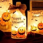 Glitzhome ''Happy Halloween'' Frosted Pumpkin Rectangle Glass Luminary