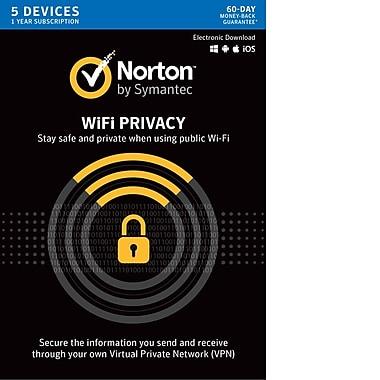 Norton – Logiciel RPV WiFi Privacy, protection de 1 an, 5 dispositifs [téléchargement]