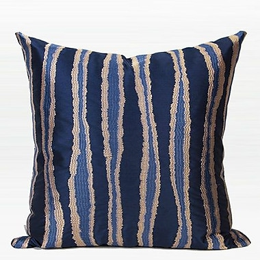 G Home Collection Luxury Wave Stripe Embroidered Down Feather Insert Throw Pillow