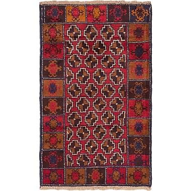 ECARPETGALLERY Bahor Wool Hand-Knotted Dark Burgundy Area Rug