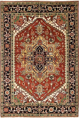 ECARPETGALLERY Serapi Heritage Hand-Knotted Dark Red/Black Area Rug