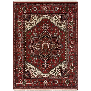 ECARPETGALLERY Serapi Heritage Hand-Knotted Dark Burgundy/Green Area Rug