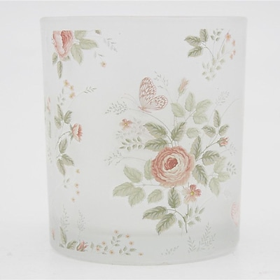 V-MoreInc. Peony and Butterfly Decal Frosted Glass Votive (Set of 3)
