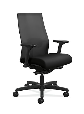 HON Ignition 2.0 Black ilira-Stretch Mesh Back Task Chair, Height- and Width-Adjustable Arms, Black NEXT2018 NEXT2Day