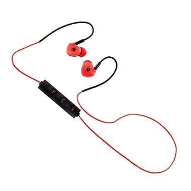 Z Budz Bluetooth Sports Earbuds with Mic and Volume Settings, Red