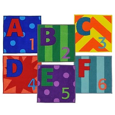 Joy Carpets - Ensemble de tapis carrés Letters & Numbers, 16 x 16 po, multicolore