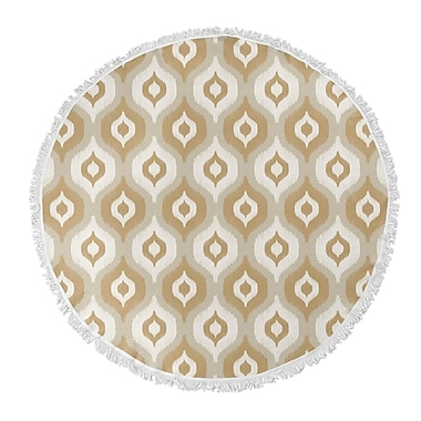 George Oliver Underhill Round Beach Towel; Tan/Ivory/Gold