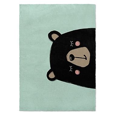 Kavka Bear Black/Green Area Rug; 2' x 3'