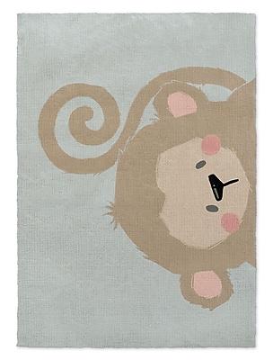 Kavka Monkey Brown/Green Area Rug; 2' x 3'