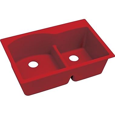 Elkay Quatrz Luxe 33'' x 22'' Double Bowl Top Mount Kitchen Sink; Maraschino