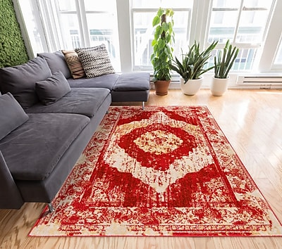 Well Woven Sydney Red/Beige Area Rug; 7'10'' x 10'6''