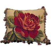 Elegant Decor Fringe Bloom Wool Lumbar Pillow