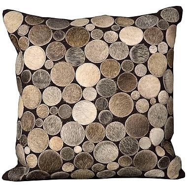 Brayden Studio Natural Leather Hide Throw Pillow; Silver
