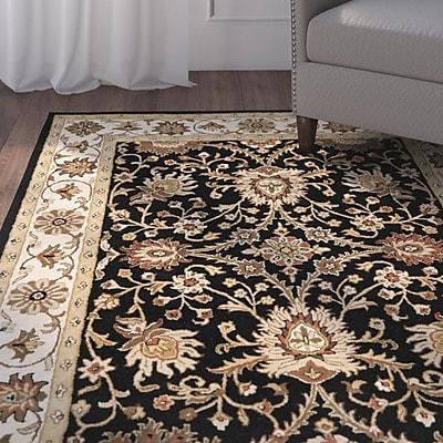 Charlton Home Dunbar Hand-Woven Wool Black Area Rug; Rectangle 5' x 8'