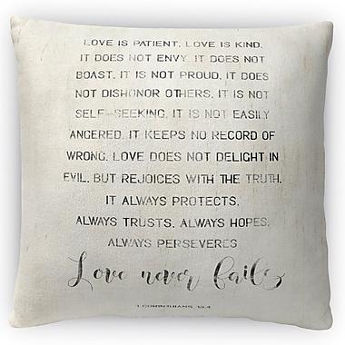 Kavka Love Never Fails Throw Pillow; 16'' H x 16'' W x 4'' D