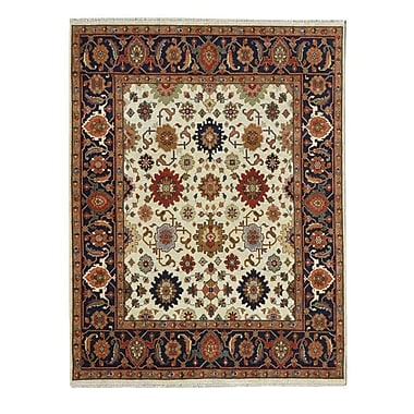 Wildon Home Hand-Knotted Red/Ivory Area Rug; 10' x 14'