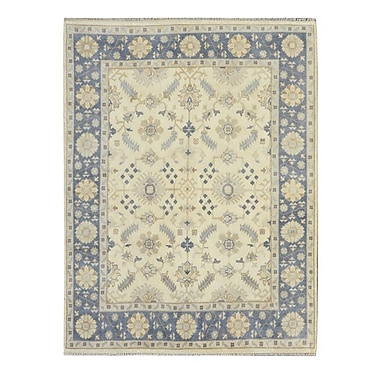 Wildon Home Hand-Knotted Yellow/Blue Area Rug; 9' x 12'