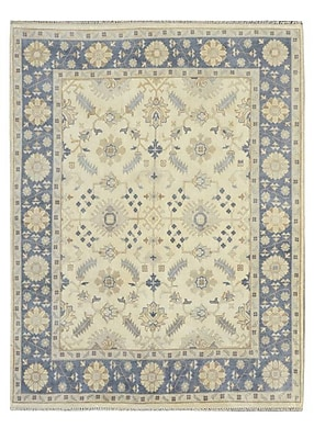 Wildon Home Hand-Knotted Yellow/Blue Area Rug; 8' x 10'