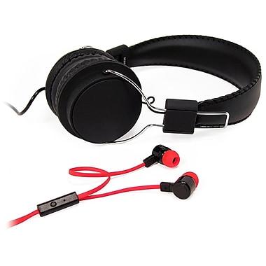 Borne – Ensemble casque d'écoute supra et écouteurs-boutons, à isolation acoustique, avec micro, noir (ECMBO1-BK)