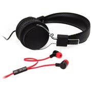 Borne – Ensemble casque d'écoute supra et écouteurs-boutons, à isolation acoustique, avec micro, rose (ECMBO1-PN)