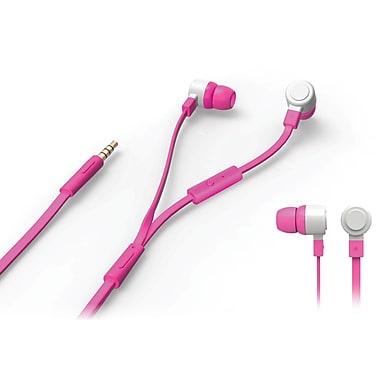 Borne – Écouteurs intra-auriculaires stéréo à isolation acoustique avec micro, rose (EPMIC1-PN)