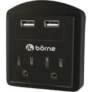 Borne SADPT2200 2-Outlet 300 J Surge Protector, Dual USB 2.1 A Charging Ports