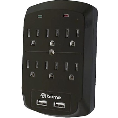 Borne – Protecteur de surtension 300 J SADPT6201 à 6 prises et 2 ports USB 2.1 A de recharge