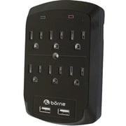 Borne SADPT6201 6-Outlet 300 J Surge Protector, Dual USB 2.1 A Charging Ports