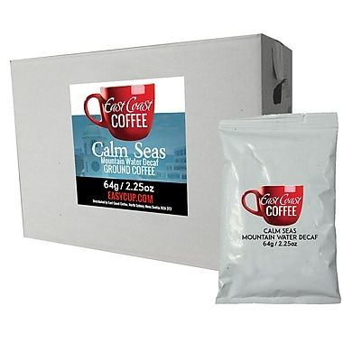 East Coast Coffee, Calm Seas Mountain Water Decaf Ground Coffee Fraction Packs, Dark Roast, 2.25oz x 64
