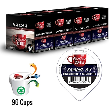 East Coast Coffee, Samuel D's, Adventurous, Intense, Robust, 96 K-Cups, Recyclable