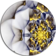DesignArt 'Unique Gold and White Fractal Flower' Modern Floral Graphic Art Print on Metal