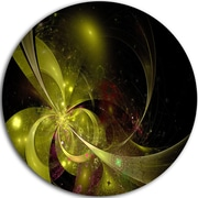 DesignArt 'Symmetrical Soft Gold Fractal Flower' Modern Floral Graphic Art Print on Metal