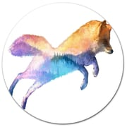 DesignArt 'Fox Double Exposure Illustration' Graphic Art Print on Metal; 11'' H x 11'' W x 1'' D