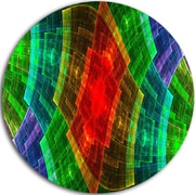 DesignArt 'Multi-Color Psychedelic Fractal Metal Grid' Abstract Graphic Art Print on Metal