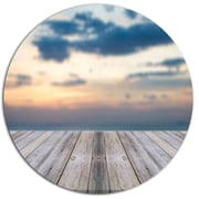 DesignArt 'Wooden Board at Sunset Seashore' Photographic Print on Metal; 11'' H x 11'' W x 1'' D