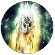 DesignArt 'Owl over Colorful Abstract Image' Graphic Art Print on Metal; 11'' H x 11'' W x 1'' D