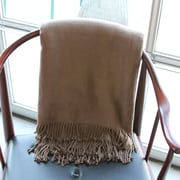 A Soft Idea Brushed Bamboo Fringed Throw; Coffee