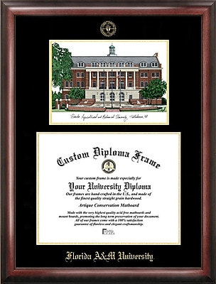 NCAA Florida A&M University Gold Embossed Diploma w/ Campus Images Lithograph Picture Frames