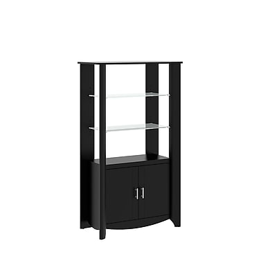 Bush Furniture Aero Tall Library Storage Cabinet with Doors, Classic Black (MY16992-03)