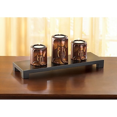 Zingz & Thingz 4 Piece Elephant Trio Wooden Candlestick Set