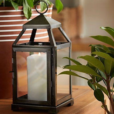 Zingz & Thingz Contemporary Iron Lantern; Rustic Silver