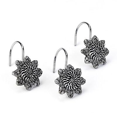 Avanti Linens Braided Medallion Shower Curtain Hooks (Set of 12); Granite