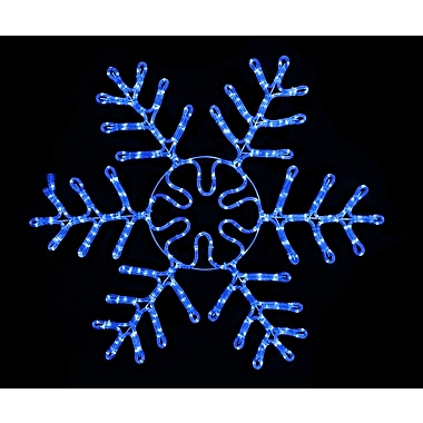 Queens of Christmas Blue Rope Lit Snowflake Ice Christmas Decoration; 37''H x 2''W x 34''D