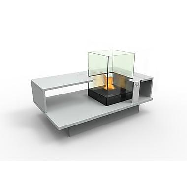 Decorpro Level Compact Indoor Bio Ethanol Coffee Table Fireburner In Silver Grey