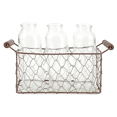Blossom Bucket Square Metal 4-Piece Decorative Bottle and Basket Set