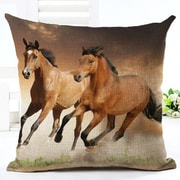 Lillowz Horses Running 100pct Cotton Throw Pillow