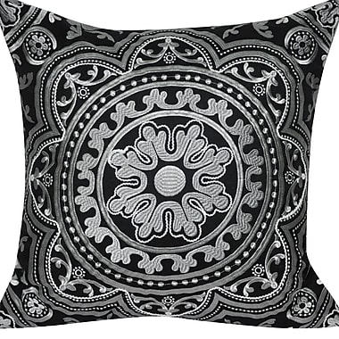 Loom and Mill Agra Flower Cotton Throw Pillow; Black